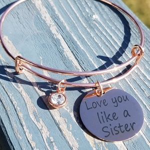 Love you like a sister rose gold charm bracelet